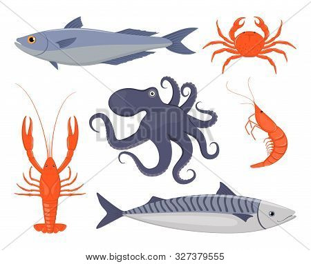 Seafood Set. Salmon, Crab, Lobster, Octopus, Shrimp, Mackerel In Flat Style. Fish Seafood Icons For