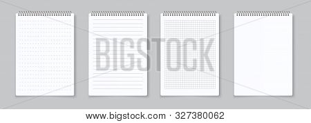 Realistic Notebooks Sheets. Lined, Checkered And Dots Paper Binder Page For Memo Pads . Vector Isola