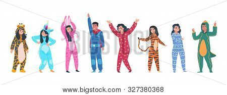 Characters In Pajamas. Cartoon Men And Women In Different Pajamas, Superheroes And Animals Costumes.