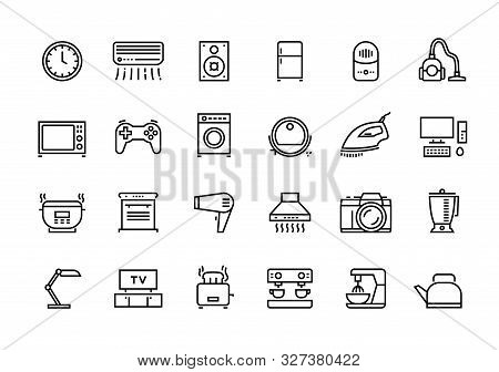 Home Appliances Line Icons. Household Electric Devices, Kitchen Equipment And Smart Utensils. Vector