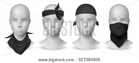 Realistic Black Bandana. Handkerchief Or Buff On White Mannequin, Biker Blank Head Scarf Or Bandage