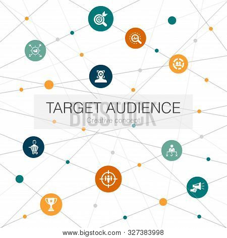 Target Audience Trendy Web Template With Simple Icons. Contains Such Elements As Consumer, Demograph