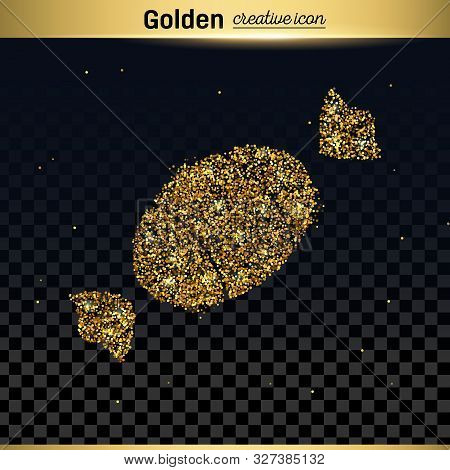 Gold Glitter Vector Icon Of Sweet Isolated On Background. Art Creative Concept Illustration For Web,