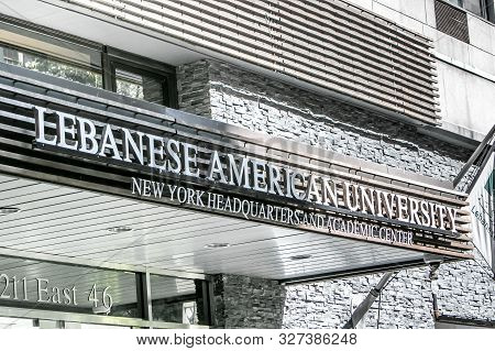 New York City, 9/27/2019: Sign Above The Entrance To Lebanese American University.