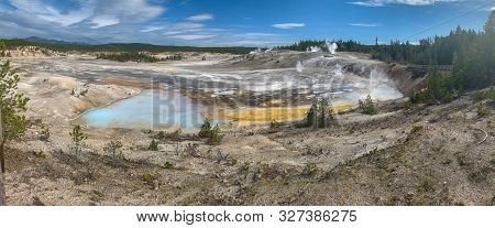 Panoramic View Of Porcelain Basin, Yellowstone National Park.