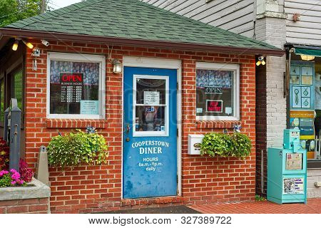 Cooperstown, Ny - September 8, 2018: The Famous Cooperstown Diner Occupies A Tiny Space On Main Stre
