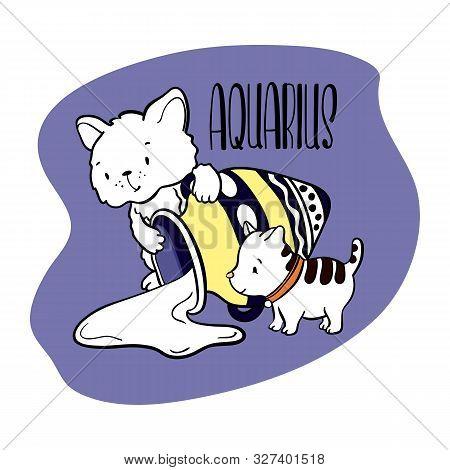 Aquarius Astrological Zodiac Sign With Cute Cat Character. Cat Zodiac Icon. Kitten Aquarius Sticker.