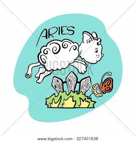 Aries Astrological Zodiac Sign With Cute Cat Character. Cat Zodiac Icon. Kitten Aries Sticker. Baby