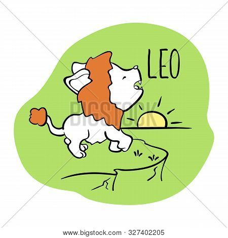Leo Astrological Zodiac Sign With Cute Cat Character. Cat Zodiac Icon. Kitten Leo Sticker. Baby Show