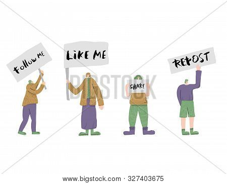 Social Media Phrase. Follow Me, Like Me, Share, Repost. People Standing Together With Sign Boards. Y
