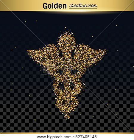 Gold Glitter Vector Icon Of Caduceus Isolated On Background. Art Creative Concept Illustration For W