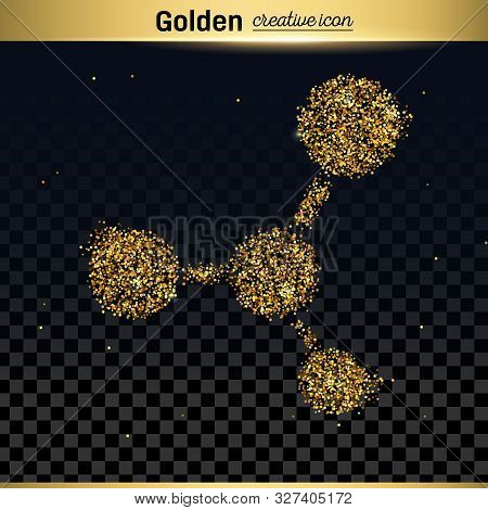 Gold Glitter Vector Icon Of Moleculas Isolated On Background. Art Creative Concept Illustration For