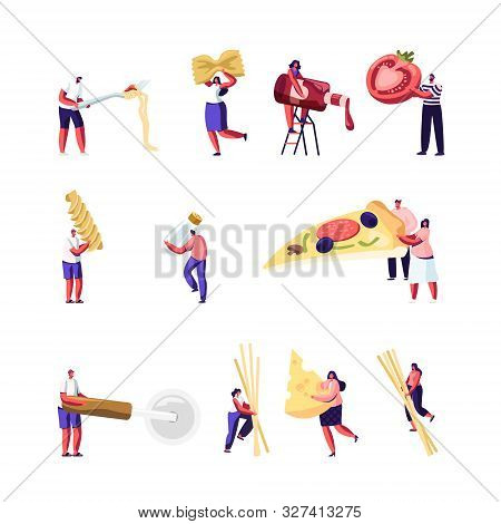 Italian Food Set. Tiny People Eating And Cooking Pizza And Pasta. Male And Female Characters Holding