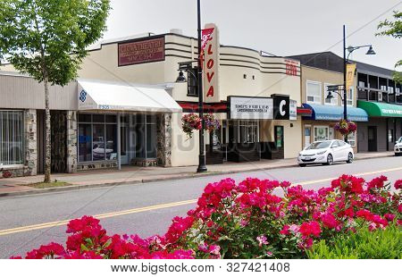Surrey, Canada - June 9, 2019: 176 Street. View Of Clova Theatre Which Have Been Used As Filming Loc
