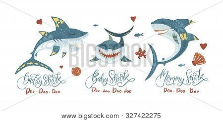 Cartoon Vector Shark Illustration - Sea Fish Set - Ocean Animal Shark Family Collection With Letteri