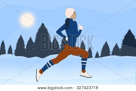Morning Jogging - Girl In Winter Clothes - Snowy Forest, Snowdrifts - Vector. Winter Sport.