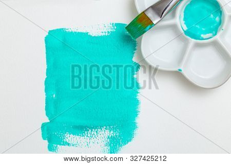Neon Mint Color  Watercolor With Palette And Brush. Watercolor Background. White Background