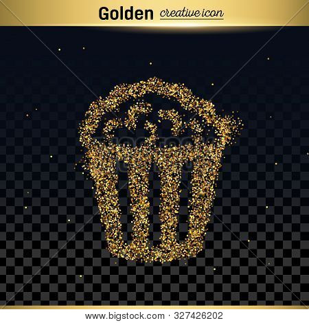 Gold Glitter Vector Icon Of Popcorn Isolated On Background. Art Creative Concept Illustration For We