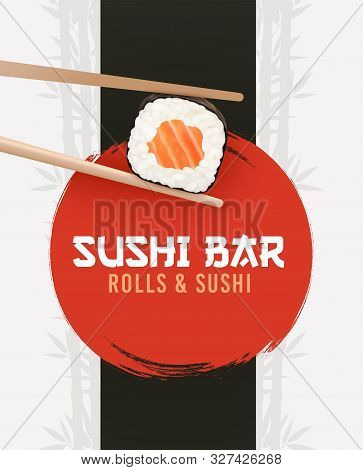 Sushi And Rolls Poster. Sushi Bar Ad, Horisontal Flyer. Realistic Vector Illustration