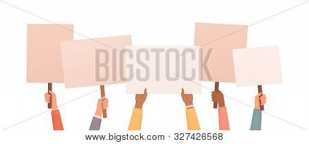 Hands Holding Posters. Place For Text Or Ad. Collection Of Hands Holding Empty Signs. Vector Illustr
