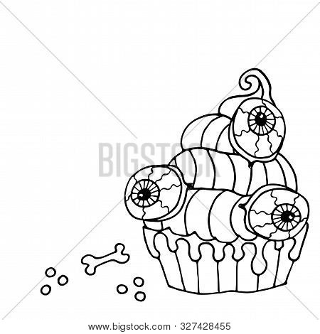 Halloween Coloring Page, Line Art Helloween Isolated On The White Background