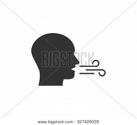 Breath, Breathing Icon. Vector Illustration, Flat Design.