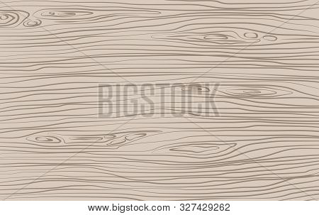 Brown Horizontal Wooden Cutting, Chopping Board, Table Or Floor Surface. Wood Texture. Vector Illust