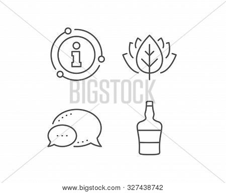 Scotch Bottle Line Icon. Chat Bubble, Info Sign Elements. Brandy Alcohol Sign. Linear Scotch Bottle
