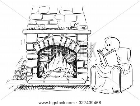 Vector Cartoon Stick Figure Drawing Conceptual Illustration Of Man Siting Under Blanket In Front Of