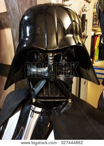 Bologna / Italy - April 14, 2018: Reproduction In Original Scales Of Darth Vader Bust From The Star