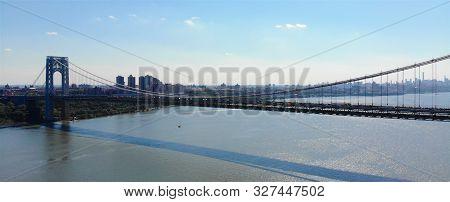 Aerial View Of George Washington Bridge In Fort Lee, Nj. George Washington Bridge Is A Suspension Br