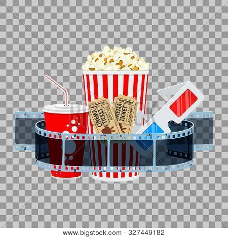 Cinema And Movie Time Banner With Flat Icons Transparent Film, Popcorn, Drink In Paper Cup, 3d Glass