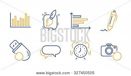 Horizontal Chart, Painting Brush And Time Management Line Icons Set. Signature, Bar Diagram And Flas