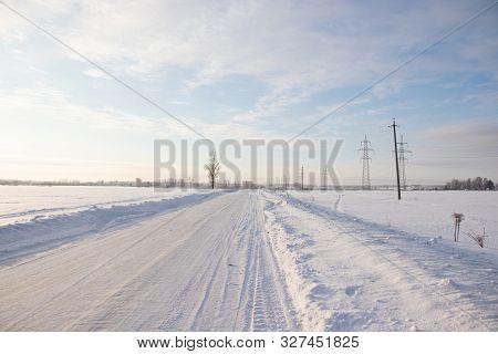 Snowy Winter Road. Winter Fairy Tale. Ride On A Winter Road.