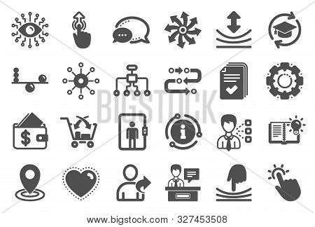 Artificial Intelligence, Balance And Refer A Friend Icons. Continuing Education, Methodology And Exh
