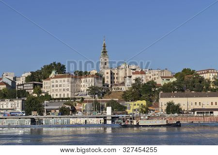 Belgrade, Serbia - August 12, 2019: Panorama Fron Sava River To Old Town (stari Grad) Of City Of Bel