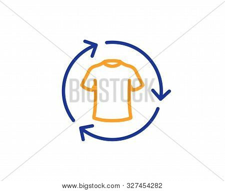 Shirt Sign. Change Clothes Line Icon. Clothing T-shirt Symbol. Colorful Outline Concept. Blue And Or