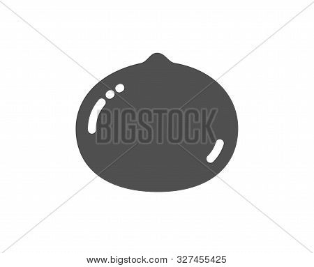 Tasty Nuts Sign. Macadamia Nut Icon. Vegan Food Symbol. Classic Flat Style. Simple Macadamia Nut Ico
