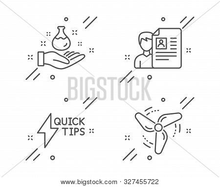 Chemistry Lab, Job Interview And Quickstart Guide Line Icons Set. Wind Energy Sign. Laboratory, Cv F