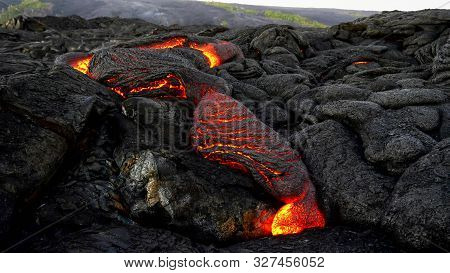 Wide Shot Of A Slow Lava Flow From Kiiaeua Volcano On The Island Of Hawaii