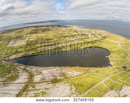 Aerial View Of Lake And Farm Fields In Inisheer Island