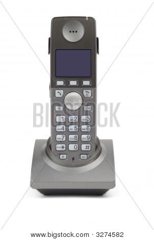 Style wireless DECT phone in cradle over white background poster