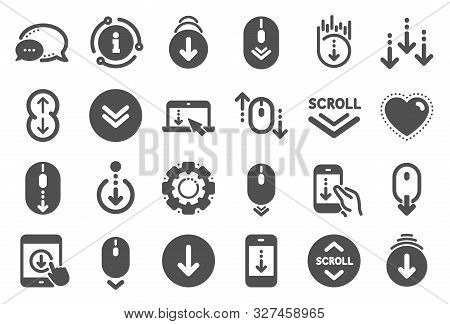 Scroll Down Icons. Scrolling Mouse, Landing Page Swipe Signs. Mobile Device Technology Icons. Websit