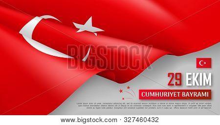 Turkish National Day Horizontal Web Banner With Realistic Waving Flag. National Traditional Holiday
