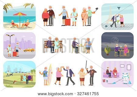 Big Set Of Healthy Active Lifestyle Retiree For Grandparents. Elderly People Characters. Grandparent