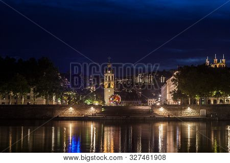 Panorama Of Presqu Ile District In Lyon At Night With The Basilique De Fourviere Church And Clocher