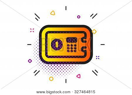 Secure deposit sign. Halftone circles pattern. Safe box icon. Hotel service symbol. Classic flat safe box icon. Vector poster