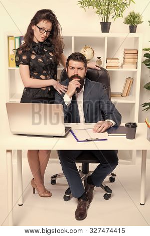 Running Startup Business Together. Confident Businessman And Sexy Woman Working In Startup Company.