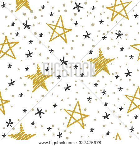 Sketch Star Seamless Pattern. Starry Sky With Golden And Black Stars. Christmas And Winter Holidays
