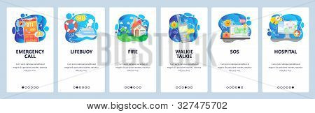 Mobile App Onboarding Screens. Emergency Situation, Sos Signal, Phone Call, Fire And Hospital. Menu